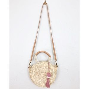 Lucky Brand Circle Neutral Straw Crossbody Bag
